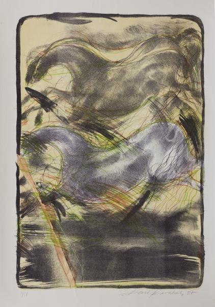 çatlayan taş 1987 70x50cm litografi 2
