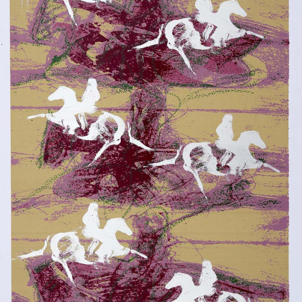 geçmiş üstüne atlar serigrafi